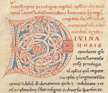 Rankeninitiale auf Bl. 1ra, Codex Laureshamensis